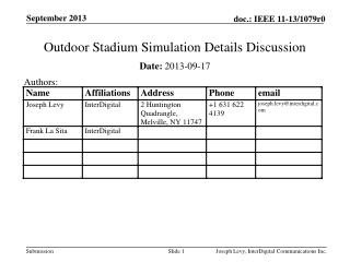 Outdoor Stadium Simulation Details Discussion