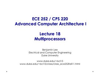 ECE 252 / CPS 220  Advanced Computer Architecture I Lecture 18 Multiprocessors