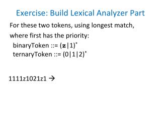 Exercise: Build Lexical Analyzer Part