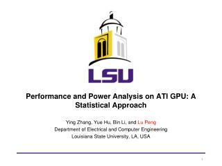 Performance and Power Analysis on ATI GPU: A Statistical Approach