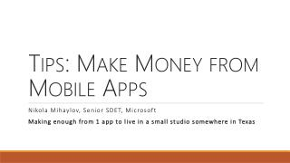 Tips: Make Money from Mobile Apps