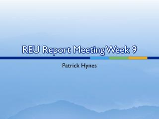 REU Report Meeting Week 9