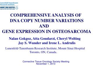 COMPREHENSIVE  ANALYSIS  OF        DNA  COPY NUMBER VARIATIONS