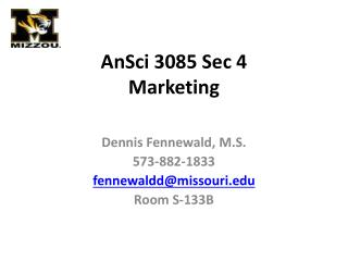AnSci  3085 Sec 4 Marketing