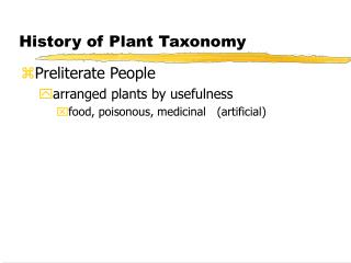 History of Plant Taxonomy