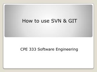 How to use SVN & GIT