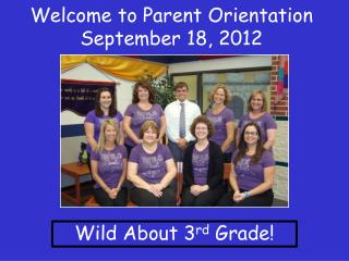 Welcome to Parent Orientation September  18, 2012