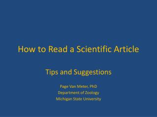 How to Read a Scientific Article