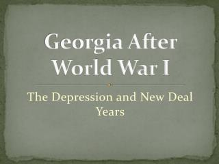 Georgia After World War I