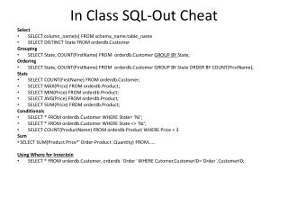 In Class  SQL-Out Cheat