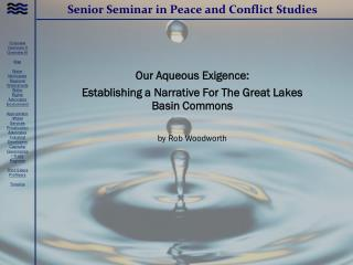 Senior Seminar in Peace and Conflict Studies