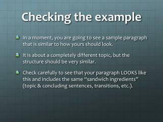 Checking the example