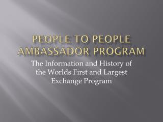 People to People Ambassador Program
