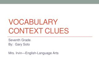 Vocabulary Context clues