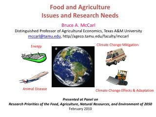 Food and Agriculture Issues and Research Needs