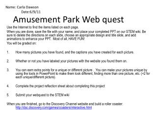 Amusement Park Web quest