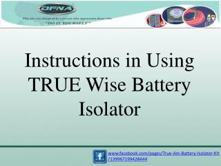 www.facebook.com/pages/True-Am-Battery-Isolator-Kit /139967199428444
