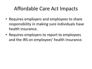 Affordable Care Act Impacts