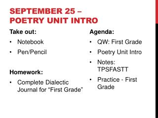 September 25 – Poetry Unit Intro