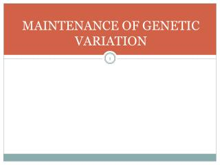MAINTENANCE OF GENETIC VARIATION