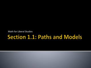 Section 1.1: Paths and Models
