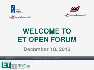 WELCOME TO ET OPEN FORUM