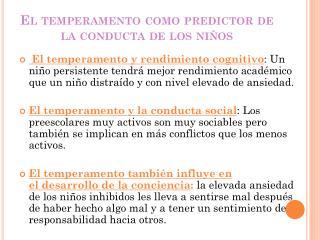 El temperamento como predictor de la conducta de los niños