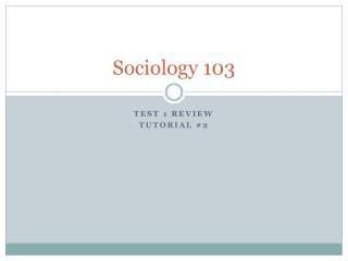 Sociology 103