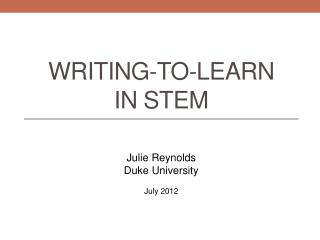 Writing-to-learn in STEM
