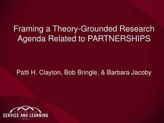 Framing a Theory-Grounded Research Agenda Related to  PARTNERSHIPS