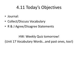 4.11 Today�s Objectives