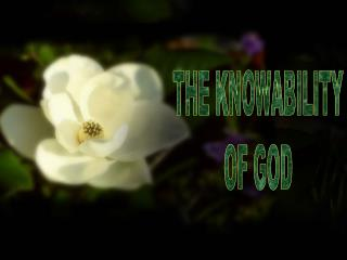 THE KNOWABILITY OF GOD