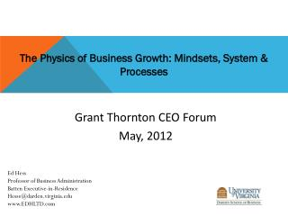 The Physics of Business Growth: Mindsets, System & Processes