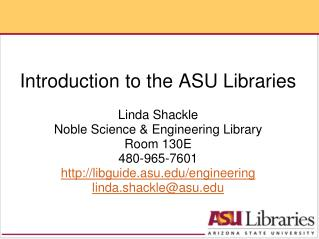 Introduction to the ASU Libraries