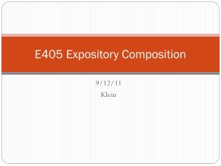 E405 Expository Composition