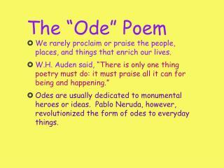 """The """"Ode"""" Poem"""