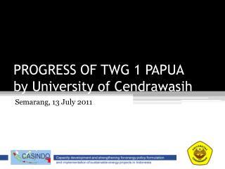 PROGRESS OF TWG 1 PAPUA by University of  Cendrawasih