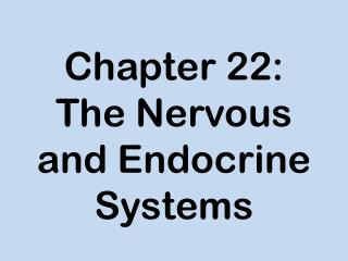 Chapter 22: The Nervous and Endocrine Systems