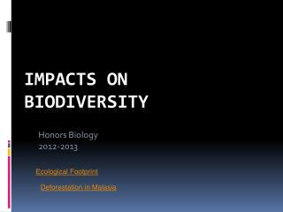Impacts on Biodiversity