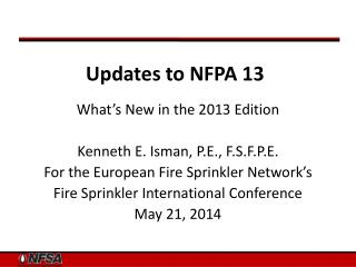 Updates to NFPA 13