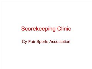 Scorekeeping Clinic