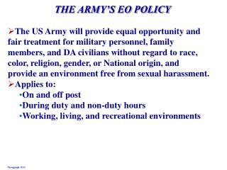 THE ARMY S EO POLICY