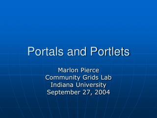 Portals and Portlets