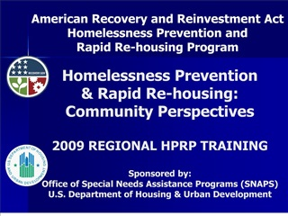 Homelessness Prevention   Rapid Re-housing:  Community Perspectives    2009 REGIONAL HPRP TRAINING   Sponsored by:  Offi