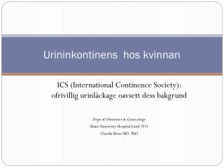 Urininkontinens  hos kvinnan
