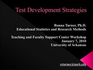 Test Development Strategies
