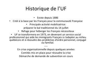 Historique  de  l'UF