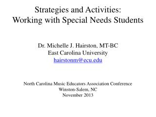 Strategies and Activities: Working with Special Needs Students