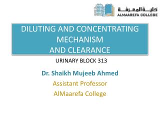 DILUTING AND CONCENTRATING MECHANISM AND CLEARANCE