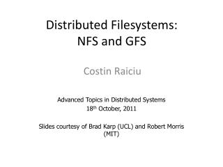 Distributed Filesystems: NFS and GFS